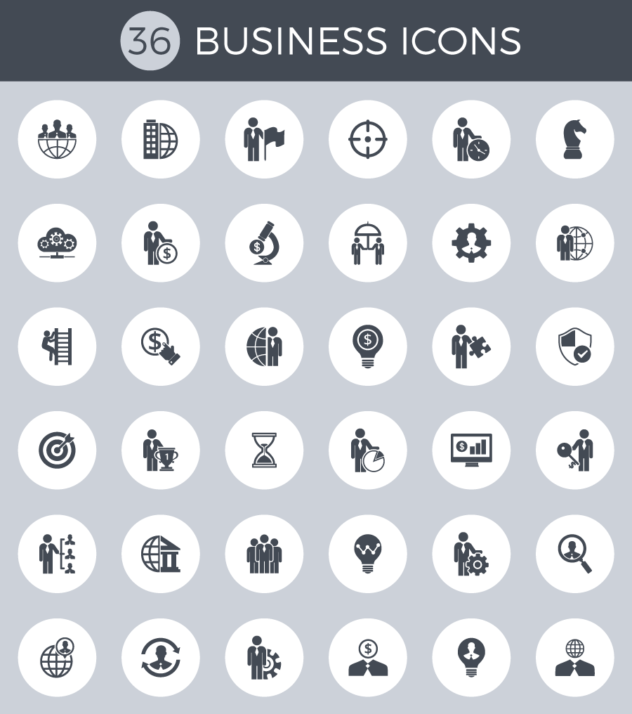 Exclusive giveaway: Icon set including 36 icons for your business