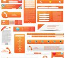 Orange Web Design Elements Vector